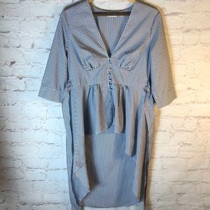 NY & CO NAVY/WHITE STRIPED LAYERED BUTTON UP TUNIC